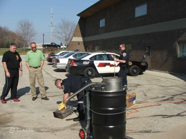 Police drug incinerator