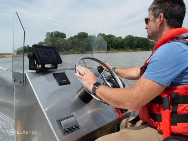 Work boat console closeup